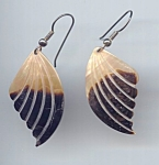 Creamy White And Brown Carved Mother Of Pearl Earrings
