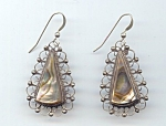 Alpaca Silver And Abalone Filigree Pierced Earrings