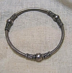 Hollow Silver Bangle Bracelet - Ethnic Look