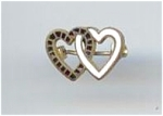 Black & White Enamel Linked Hearts Pin