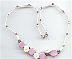 Pink & White Glass Daisy Necklace