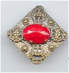 Czech Red Glass Stone Brooch