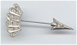 Silver Metal Rhinestone Arrow Brooch