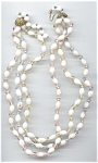 Swirled White & Pastel Glass Beaded Necklace