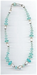 Aqua Satin Faceted Crystal Beaded Necklace