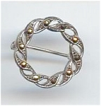 Silver & Marcasite Victorian Circle Pin