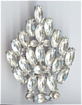 3 1/8th Inch Silver Metal Rhinestone Brooch