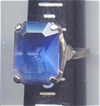 Big Sapphire Blue Rhinestone Costume Ring