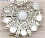 Rhinestone & Moonstone Pin