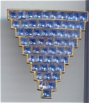 Blue Rhinestone Art Deco Design Dress Clip