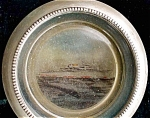 Frank Whiting Silver And Glass Steamship Coaster.