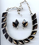 Black Thermocab Plastic Necklace Earring Set
