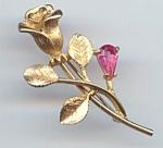 Rhinestone Avon Golden Rose Pin