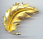 Signed Mamselle Golden Leaf Brooch