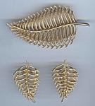 Openwork Golden Metal Leaf Brooch And Earrings