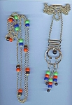 Funky Colorful 1960's Metal And Bead Necklace Set