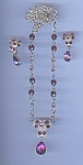 Purple Rhinestone Necklace And Earring Set