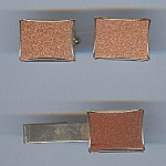 Vintage Goldtone Cufflinks And Matching Tie Clip
