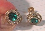Gorgeous Mint Emerald And White Rhinestone Earrings