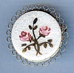 Lovely White Enamel With Rose Round Brooch