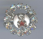 Fiery White Rhinestone And Enamel Masonic Shriner's Pin