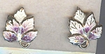 Painted Metal Purple And White Leaf Screwback Earrings