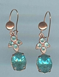 Aqua Blue Rhinestone Pierced Earrings