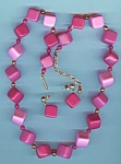 Shades Of Rose Square Plastic Necklace And Earring Set