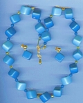 Shades Of Blue Square Plastic Necklace And Earring Set
