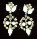 Gorgeous White Glass And Rhinestone Clip Earrings