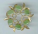 Gold Filled Jade Circle Brooch