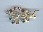 12kt Gold Filled Rhinestone Bouquet Pin