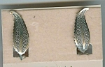 Beau Sterling Feather Design Screwback Earrings