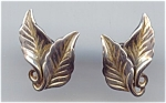 Danecraft Sterling 2 Leaf Screwback Design Earrings