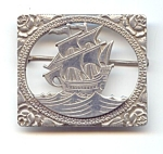 Unusual Sterling Silver Ship Brooch