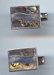 Sterling And Abalone Taxco Mexico Cuff Links