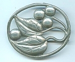 Sterling Silver Berry And Leaf Brooch