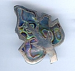 Sterling And Abalone Leaf Pin