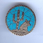 Sterling And Turquoise Mexican Scene Pin