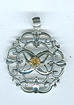Sterling Silver And Citrine Filigree Pendant