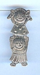 Sterling Silver Mexican Happy Children Brooch