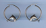 Vintage Sterling Dolphin In A Hoop Pierced Earrings