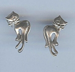 Vintage Sterling Cat Pierced Earrings