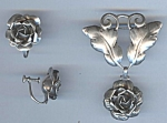 Gorgeous Sterling Rose Pin And Earring Set