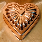 3 Cup Copper Colored Aluminum Heart Shaped Mold