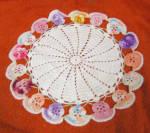 Antique Multicolor Crocheted Flower Doillie