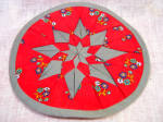 Handmade Quilted Red And Gray Potholder