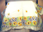 Vintage Printed Cotton Cardtable Tablecloth