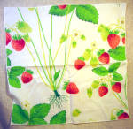 1960's Strawberry Design Cotton Napkin