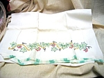Pair Of Ivy Design Embroidered Pillow Cases